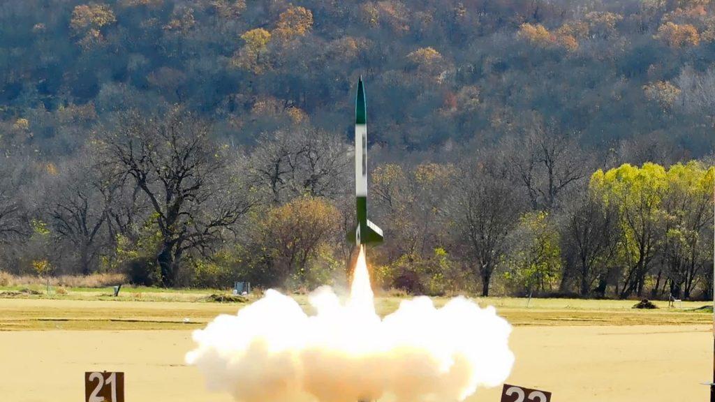 High power rocket lifts off